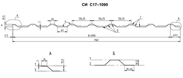 профнастил с17 технические характеристики
